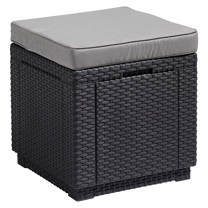 Allibert Lounge-Hocker Cube (42 x 42 x 39 cm, Polypropylen, Anthrazit)
