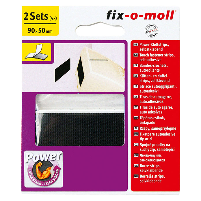 Fix-o-moll Power-Klettstrip (90 x 50 mm, Schwarz, 2 Stk.)