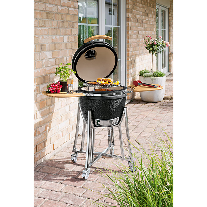 Kingstone Barbacoa de carbón Ahumador Big Buddy (Black, Superficie parrilla: Ø 38 cm)