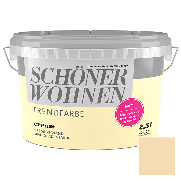 sch ner wohnen wand deckenfarbe trendfarbe cream 2 5 l matt 5888 readymix farbe marke. Black Bedroom Furniture Sets. Home Design Ideas