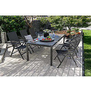 Sunfun Vari Desk Dining-Set , Tischplatte: Mountain Lodge (8-tlg., Tischgestell Vari Desk Flying Edelstahl, Tischplatte Mountain Lodge, Alu-Textilen Positionssessel Maja)