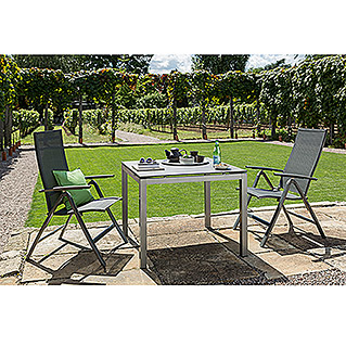Sunfun Vari Desk Dining-Set , Tischplatte: Mountain Lodge (4-tlg., Tischgestell Vari Desk Flying Edelstahl, Tischplatte Mountain Lodge, Alu-Textilen Positionssessel Maja)