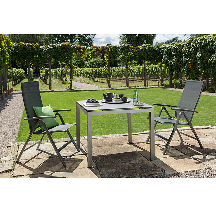 Sunfun Vari Desk Dining-Set (4-tlg., Tischgestell Vari Desk Flying Edelstahl, Tischplatte Mountain Lodge, Alu-Textilen Positionssessel Maja)