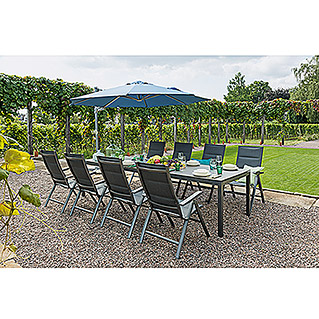 Sunfun Vari Desk Dining-Set , Tischplatte: Mountain Lodge (10-tlg., Tischgestell Vari Desk Flying Aluminium, Tischplatte Mountain Lodge, Positionssessel Maja)