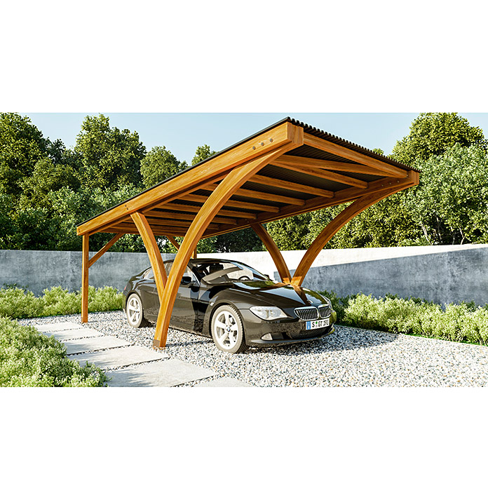 carport olivia 6 x 3 08 m einfahrtsh he 2 67 m vorne. Black Bedroom Furniture Sets. Home Design Ideas