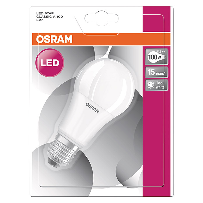 osram led leuchtmittel star classic a 13 w e27 kaltwei. Black Bedroom Furniture Sets. Home Design Ideas
