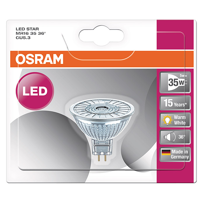 osram led leuchtmittel star mr16 4 6 w gu5 3 36 nicht dimmbar warmwei 3502 led. Black Bedroom Furniture Sets. Home Design Ideas