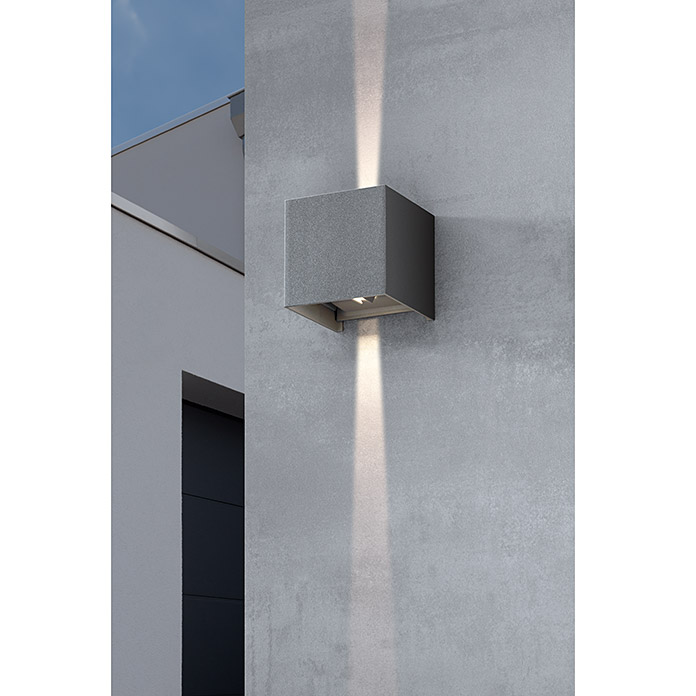 Starlux Aplique exterior LED Umea (8 W, Color: Antracita, L x An x Al: 10 x 10 x 10 cm, IP54, Cuadrado)