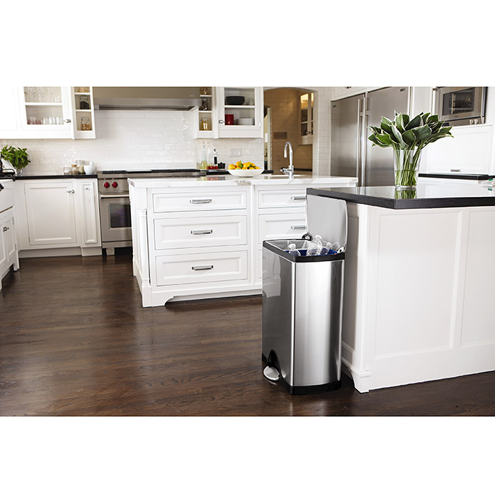 simplehuman recycler 30 l 16 l silber rechteckig edelstahl 3719 abfalleimer metall. Black Bedroom Furniture Sets. Home Design Ideas