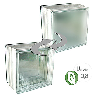 Fuchs Design Glasbaustein Thermo Block Plus (Klar, Vollsicht, 19,8 x 19,8 x 13,5 cm, Einseitig satiniert)