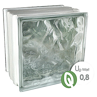 Fuchs Design Glasbaustein Thermo Block Plus (Klar, Wolke, 19,8 x 19,8 x 13,5 cm)