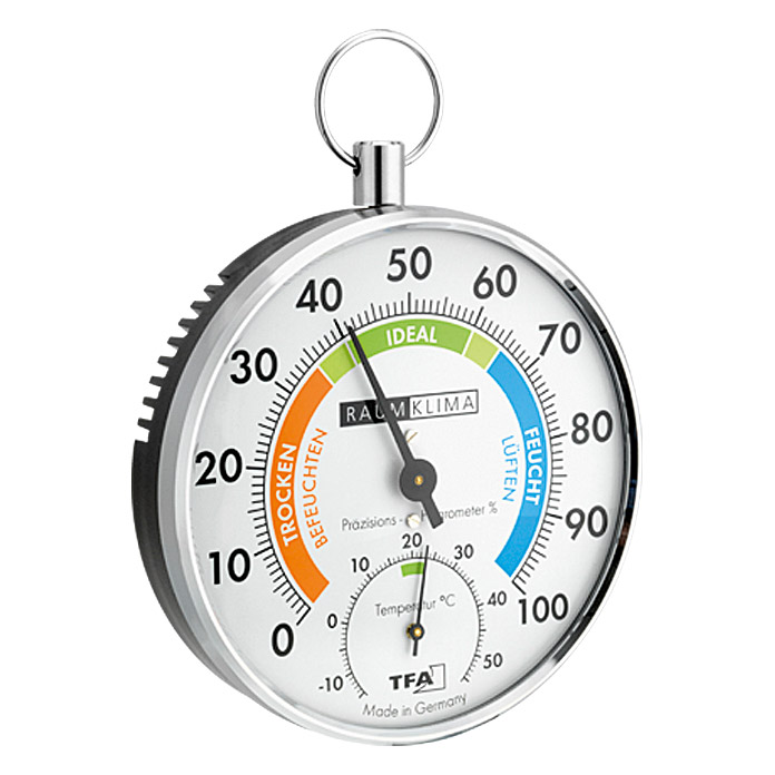 THERMO-HYGROMETER   MESSING Ø 10cm