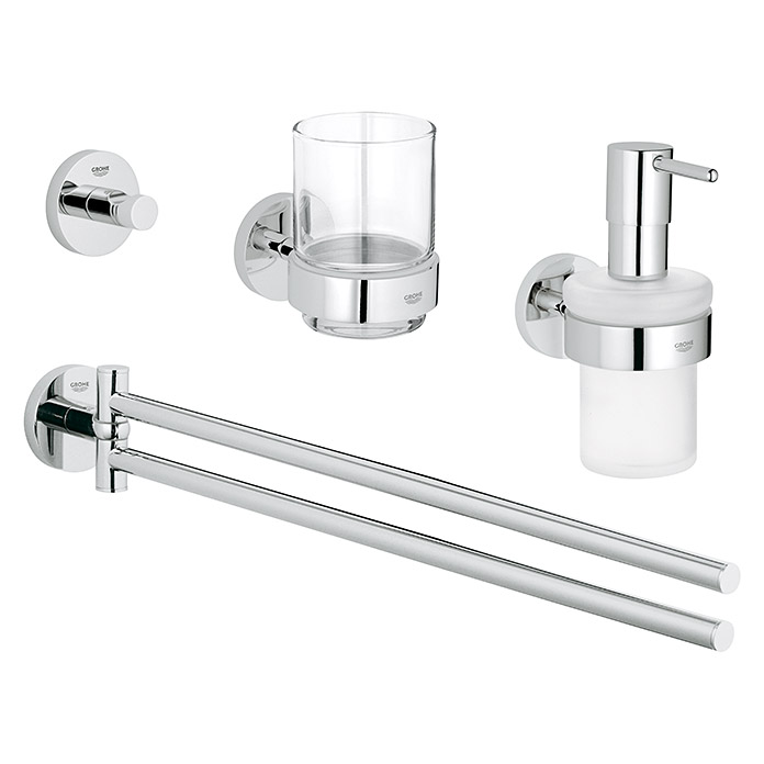 grohe essentials bad set 4in1 variante 1 4 tlg chrom gl nzend bauhaus. Black Bedroom Furniture Sets. Home Design Ideas