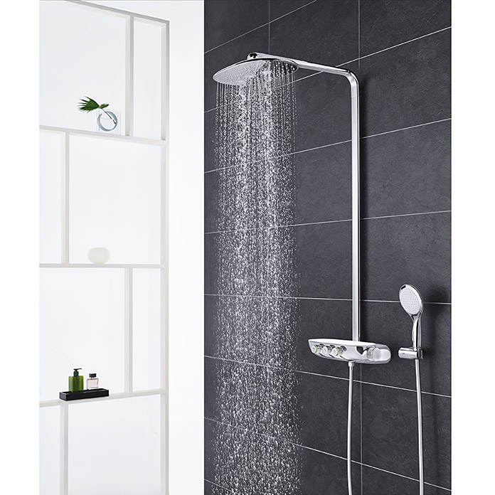 grohe duschsystem rainshower smartcontrol 360 mit thermostatarmatur lochabstand 100 6 cm. Black Bedroom Furniture Sets. Home Design Ideas