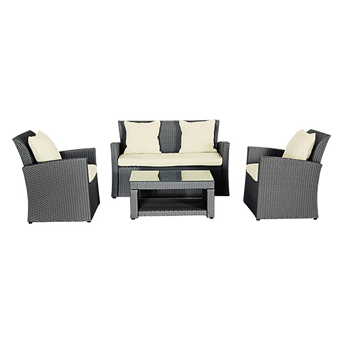 sunfun loft neila loungem bel set 4 tlg polyrattan bauhaus. Black Bedroom Furniture Sets. Home Design Ideas