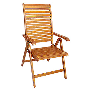 Sunfun Diana Silla con respaldo regulable (69 cm, Madera, Marrón natural)