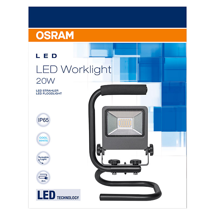 osram led strahler floodlight 20 w schwarz tragegriff ip65 3099 arbeitsleuchten. Black Bedroom Furniture Sets. Home Design Ideas