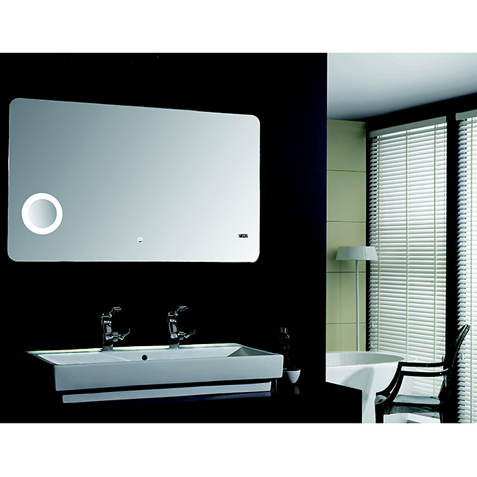 led lichtspiegel silver shadow 120 x 70 cm energieeffizienzklasse a sensorschalter bauhaus. Black Bedroom Furniture Sets. Home Design Ideas
