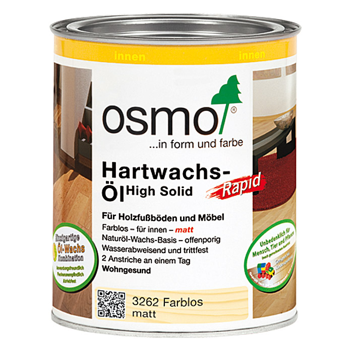 Osmo High Solid Hartwachs-Öl Rapid 3262 (Farblos, 750 ml)
