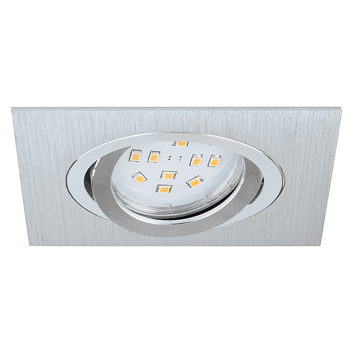 Tween Light Led-inbouwverlichtingset (3 x 5 W, GU10, Warm wit, 95 x 95 mm, Geborsteld aluminium, 3 stk.)