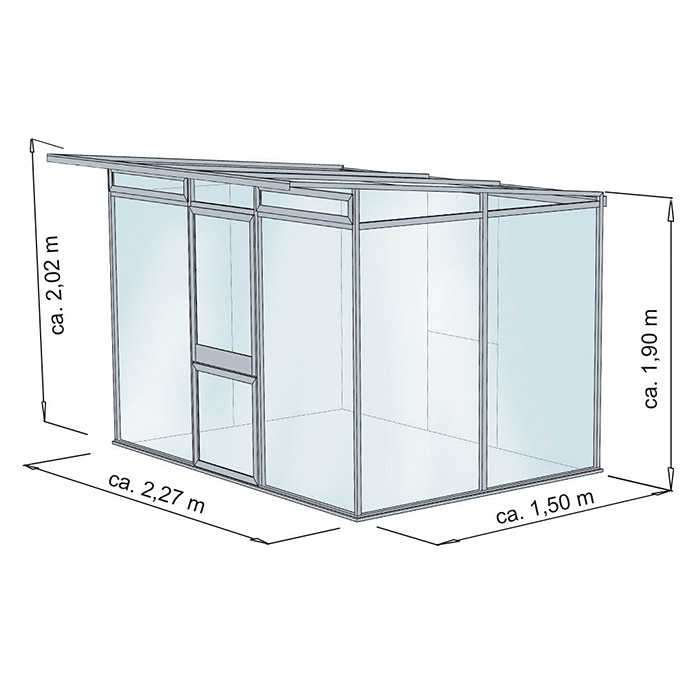 kgt gew chshaus jubilea ii 1 5 x 2 27 x 2 02 m polycarbonat glasst rke 6 mm moosgr n. Black Bedroom Furniture Sets. Home Design Ideas