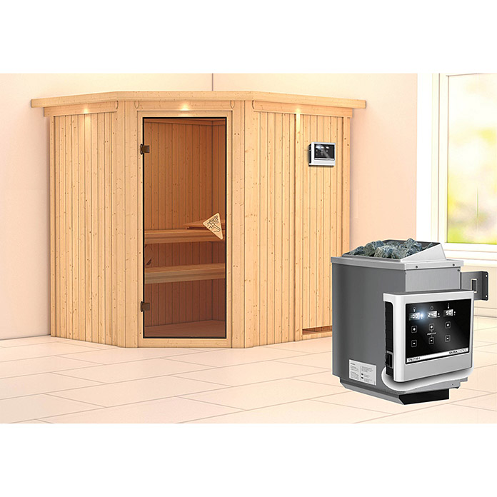 karibu systemsauna siirin mit saunaofen 9 kw inkl steuerung easy mit dachkranz und. Black Bedroom Furniture Sets. Home Design Ideas