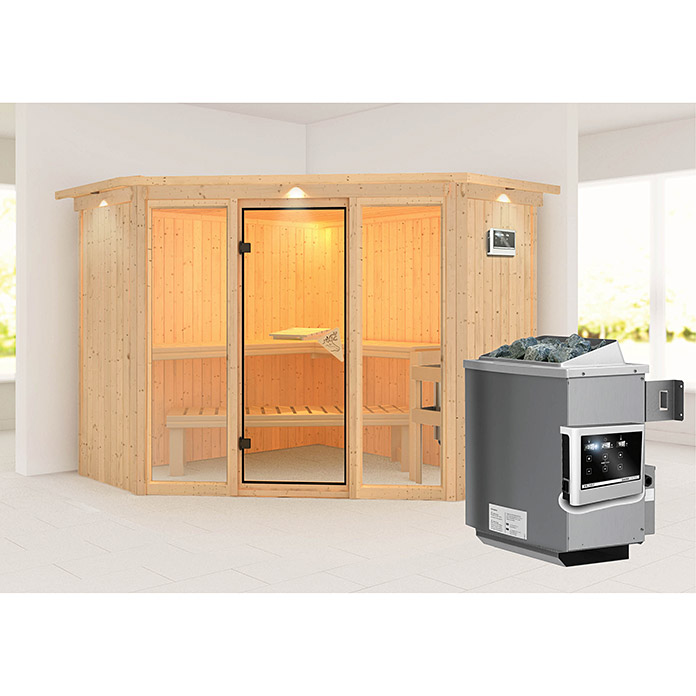 karibu systemsauna flora 2 mit saunaofen 9 kw inkl steuerung easy 231 x 231 x 198 cm bauhaus. Black Bedroom Furniture Sets. Home Design Ideas