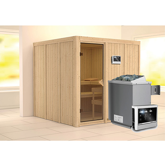 karibu systemsauna rodin mit saunaofen 9 kw inkl steuerung easy ohne dachkranz 196 x 196 x. Black Bedroom Furniture Sets. Home Design Ideas