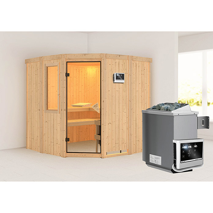 karibu systemsauna simara 1 mit saunaofen 9 kw inkl steuerung easy mit fenster 196 x 196 x. Black Bedroom Furniture Sets. Home Design Ideas