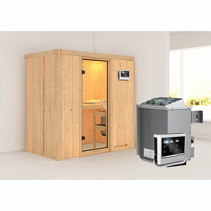 karibu systemsauna variado mit saunaofen 9 kw inkl. Black Bedroom Furniture Sets. Home Design Ideas