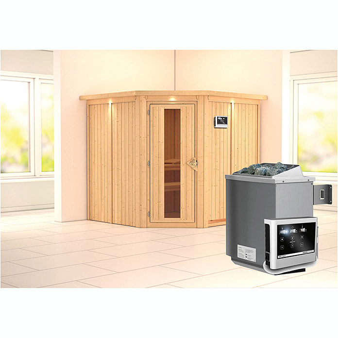 karibu systemsauna jarin mit saunaofen 9 kw inkl steuerung easy mit dachkranz und beleuchtung. Black Bedroom Furniture Sets. Home Design Ideas