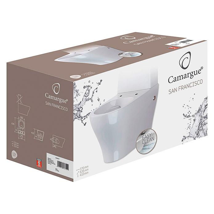Camargue San Francisco Taza WC sin borde de descarga (Adosado, Blanco)