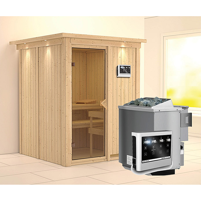 karibu systemsauna norin mit sauna bio ofen 9 kw inkl steuerung easy mit dachkranz und. Black Bedroom Furniture Sets. Home Design Ideas