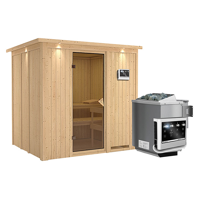 karibu systemsauna sodin mit sauna bio ofen 9 kw inkl steuerung easy mit dachkranz und. Black Bedroom Furniture Sets. Home Design Ideas