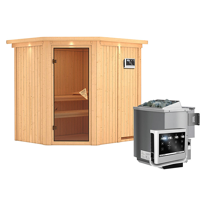 karibu systemsauna siirin mit sauna bio ofen 9 kw inkl steuerung easy mit dachkranz und. Black Bedroom Furniture Sets. Home Design Ideas