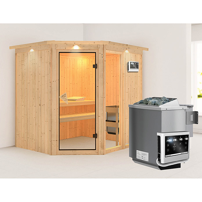 karibu systemsauna fiona 2 mit sauna bio ofen 9 kw inkl steuerung easy 170 x 196 x 198 cm. Black Bedroom Furniture Sets. Home Design Ideas
