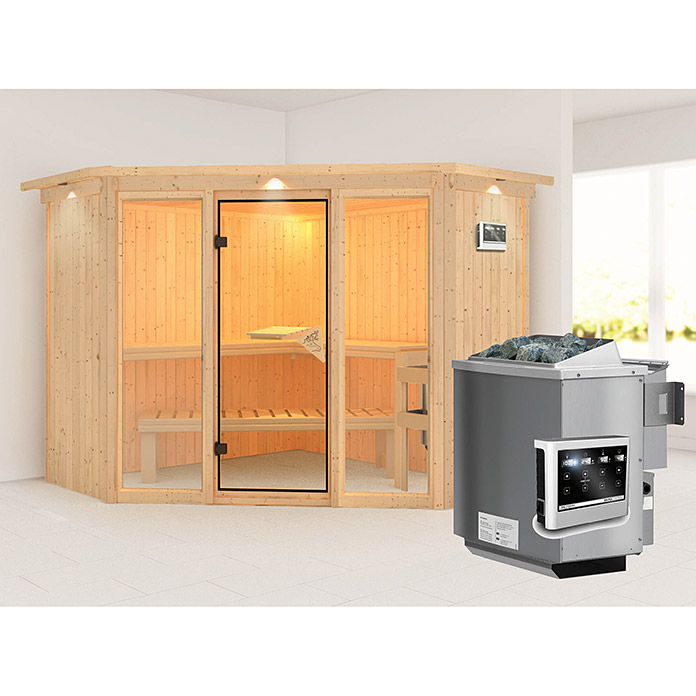 karibu systemsauna flora 2 mit sauna bio ofen 9 kw inkl. Black Bedroom Furniture Sets. Home Design Ideas