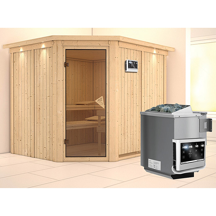 karibu systemsauna malin mit sauna bio ofen 9 kw inkl steuerung easy mit dachkranz und. Black Bedroom Furniture Sets. Home Design Ideas