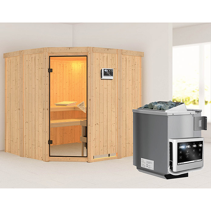 karibu systemsauna simara 1 mit sauna bio ofen 9 kw inkl. Black Bedroom Furniture Sets. Home Design Ideas
