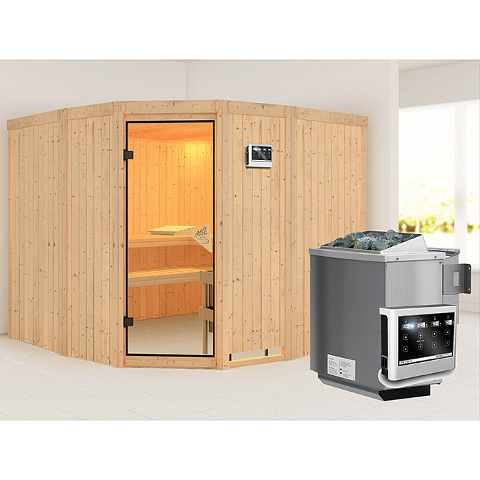 karibu systemsauna simara 3 mit sauna bio ofen 9 kw inkl steuerung easy ohne fenster 231 x. Black Bedroom Furniture Sets. Home Design Ideas