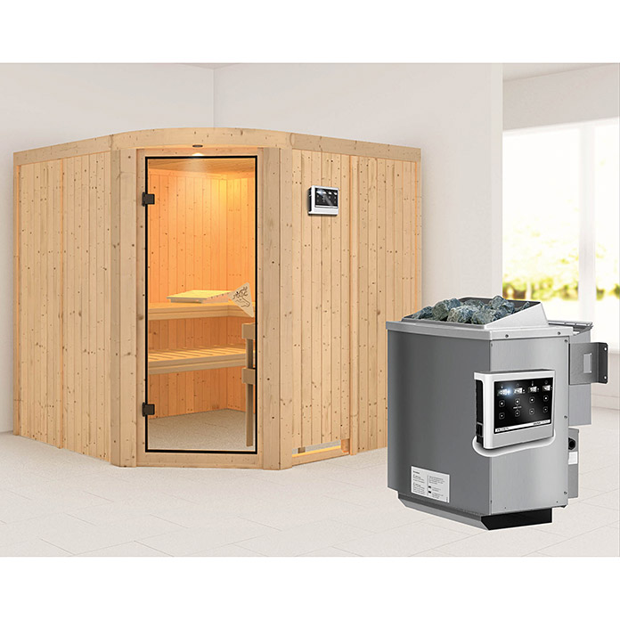 karibu systemsauna aukura mit sauna bio ofen 9 kw inkl steuerung easy 196 x 196 x 198 cm. Black Bedroom Furniture Sets. Home Design Ideas