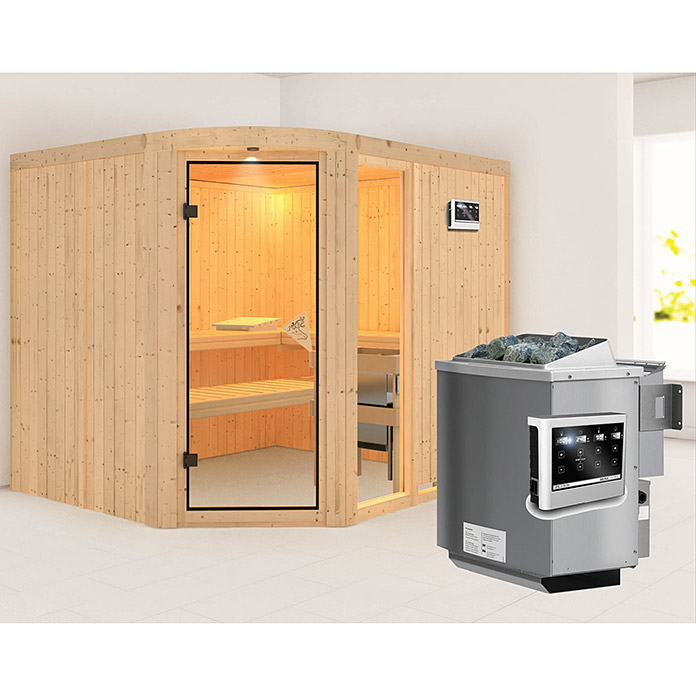 karibu systemsauna lakura mit sauna bio ofen 9 kw inkl steuerung easy ohne dachkranz 196 x. Black Bedroom Furniture Sets. Home Design Ideas