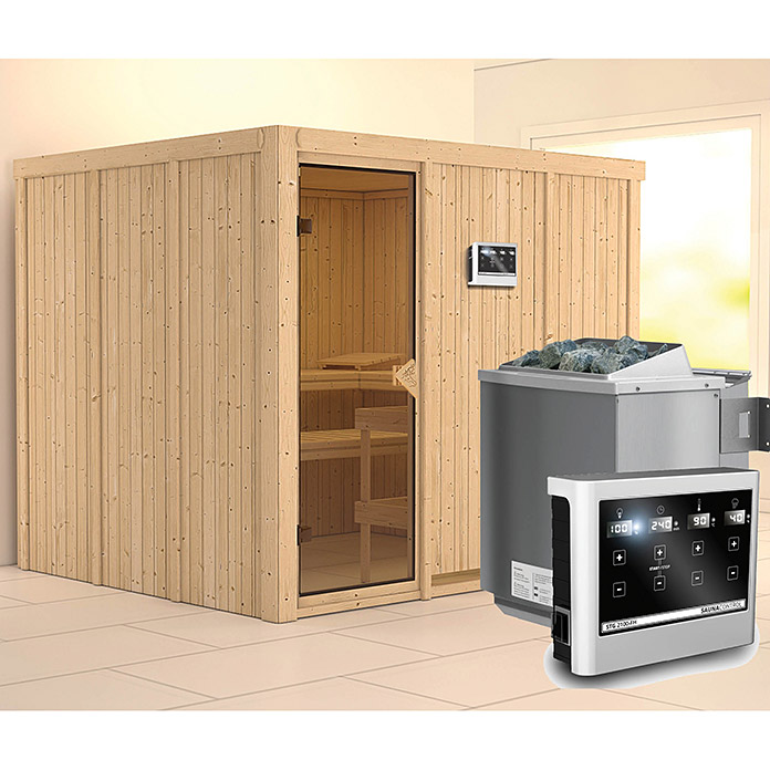 karibu systemsauna gobin mit sauna bio ofen 9 kw inkl steuerung easy ohne dachkranz 196 x. Black Bedroom Furniture Sets. Home Design Ideas