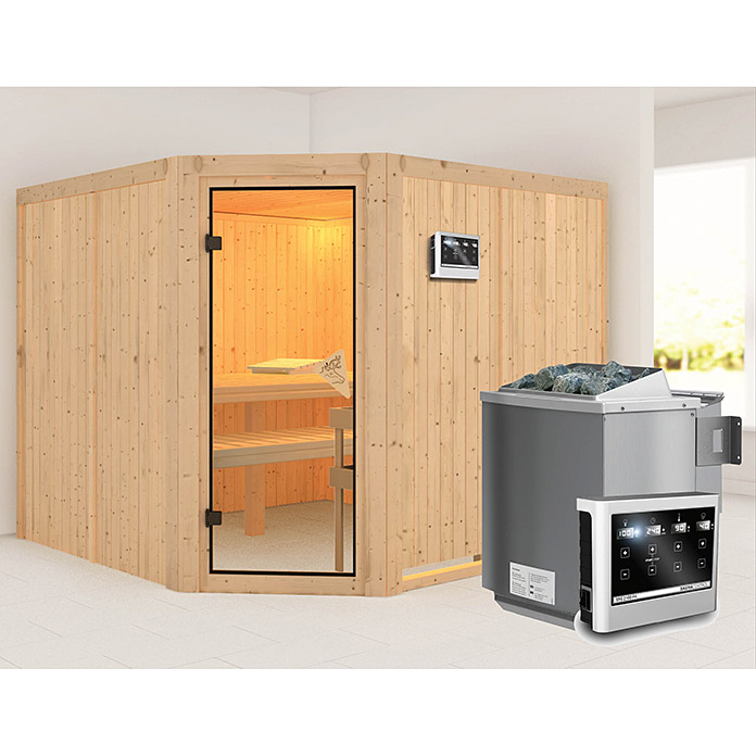 karibu systemsauna farin mit sauna bio ofen 9 kw inkl steuerung easy ohne dachkranz 231 x. Black Bedroom Furniture Sets. Home Design Ideas