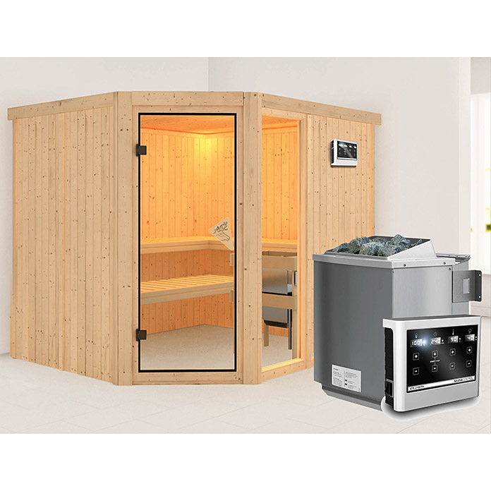karibu systemsauna fiona 3 mit sauna bio ofen 9 kw inkl. Black Bedroom Furniture Sets. Home Design Ideas