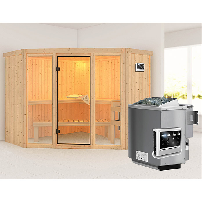 karibu systemsauna flora 2 mit sauna bio ofen 9 kw inkl steuerung easy ohne dachkranz 231 x. Black Bedroom Furniture Sets. Home Design Ideas
