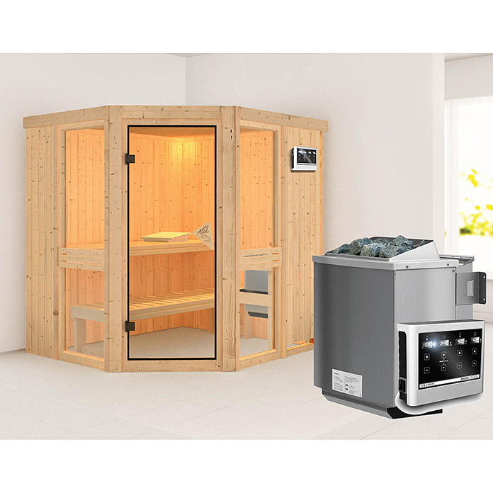 karibu systemsauna amelia 1 mit sauna bio ofen 9 kw inkl steuerung easy ohne dachkranz 170 x. Black Bedroom Furniture Sets. Home Design Ideas