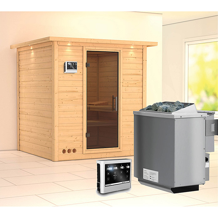 karibu massivholzsauna mojave mit sauna bio ofen 9 kw inkl steuerung easy mit dachkranz und. Black Bedroom Furniture Sets. Home Design Ideas