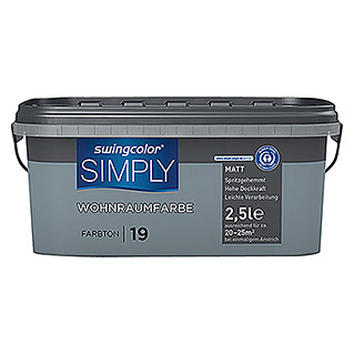 swingcolor Wandfarbe SIMPLY (Blau - Nr. 19, 2,5 l, Matt)