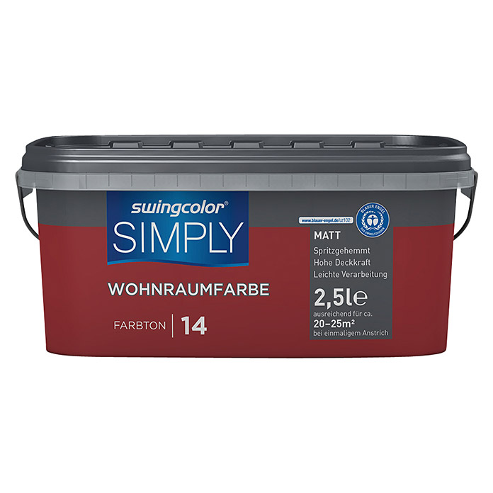 swingcolor Wandfarbe SIMPLY (Rot - Nr. 14, 2,5 l, Matt)